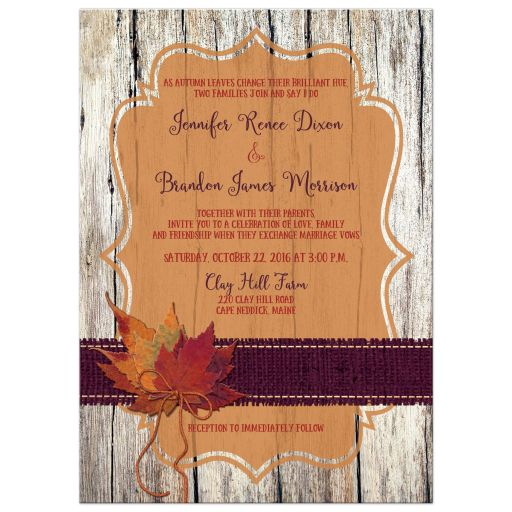 Great rustic orange and purple wood and burlap autumn leaves wedding invites with twine bow.