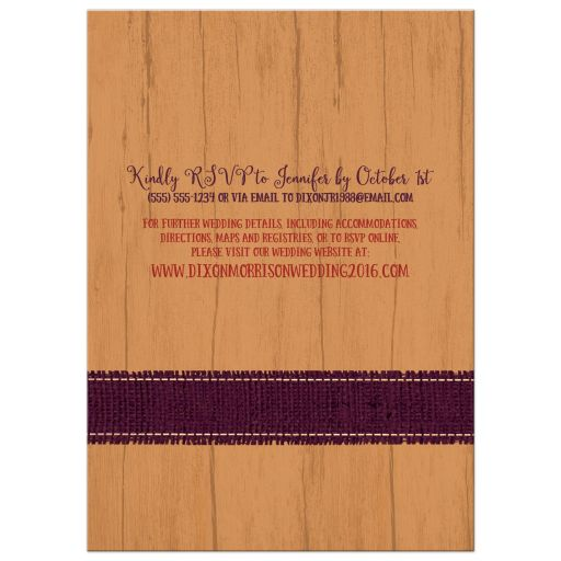 Best rustic orange and purple wood and burlap autumn leaves wedding invitations with twine bow.