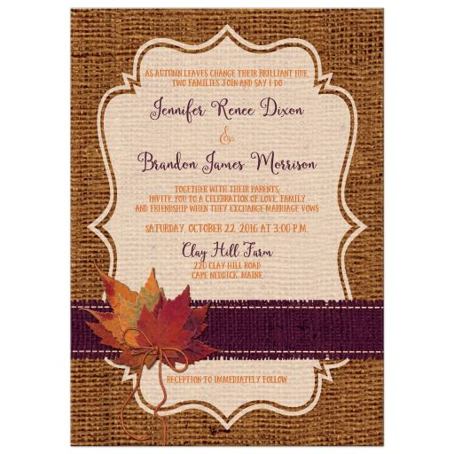 Autumn Wedding Invitation Dried Leaves FAUX Burlap and Twine Bow