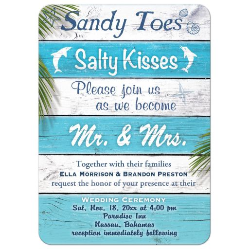 Blue & White Striped Sandy Toes Salty Kisses Wedding Invitation