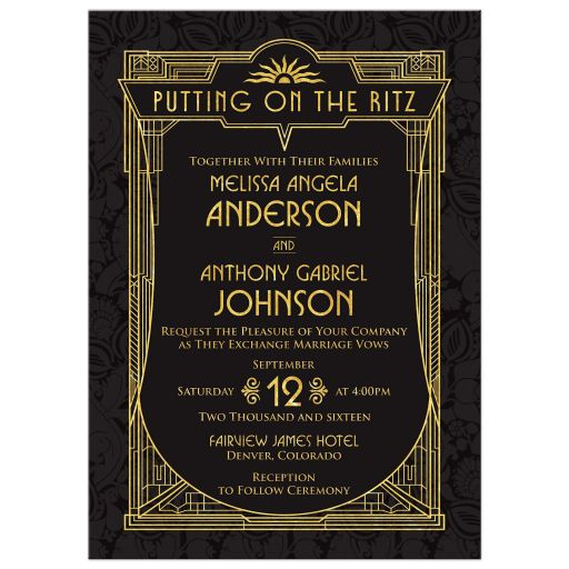 Black and gold roaring 20s Great Gatsby art deco wedding invitation front