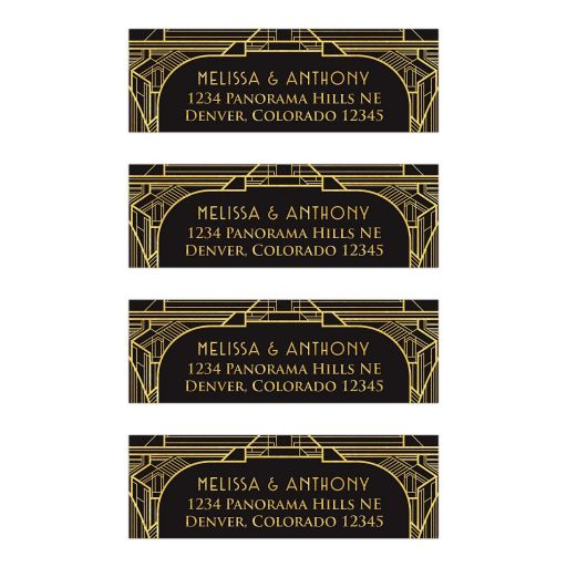 Black and gold roaring 20s Great Gatsby art deco wedding address mailing labels