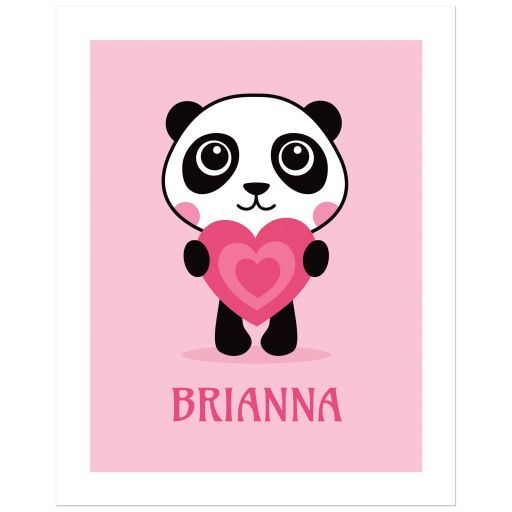 Cute panda with pink love heart, animal theme art print / poster for kids
