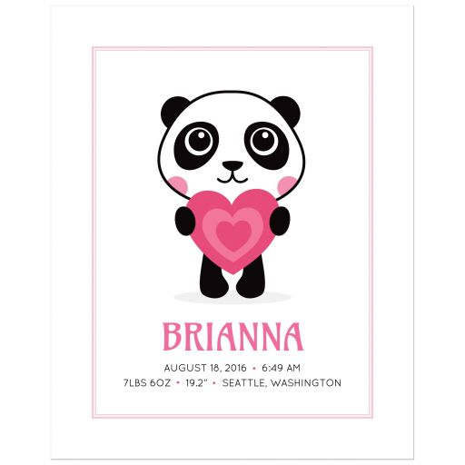 Birth announcement keepsake print for baby girls with cute panda holding a pink love heart