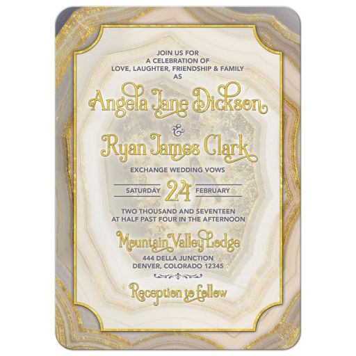Unique agate geode geology wedding invitation in blush pink, champagne, gold, and grey front