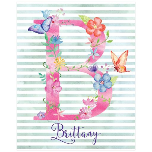 Great personalized art print with initial, name and striped watercolor pattern with watercolor flowers, leaves and butterflies.