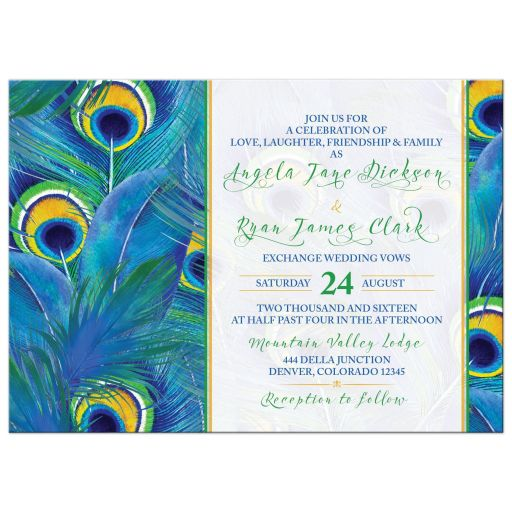 Watercolor peacock feather wedding invitation front