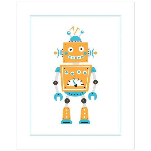 Cute robot print nursery wall art with fun, retro robot in blue and orange