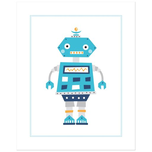 Robot nursery print for boys with cute, retro robot