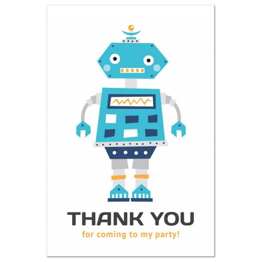 Robot party thank you postcard with fun, retro robot