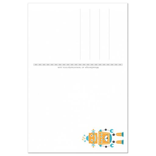 Back of robot themed birthday thank you card for kids