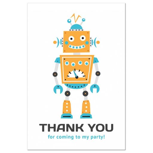 Robot party thank you card for kids parties