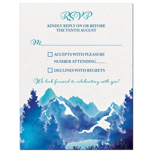 ​Royal blue and turquoise watercolor painting style mountain wedding RSVP reply card