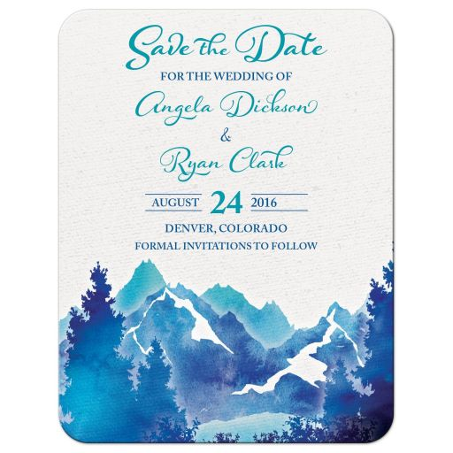 Royal blue and turquoise watercolor painting style mountain wedding save the date announcement