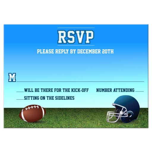 Football Gridiron Bar Mitzvah Reply RSVP Card