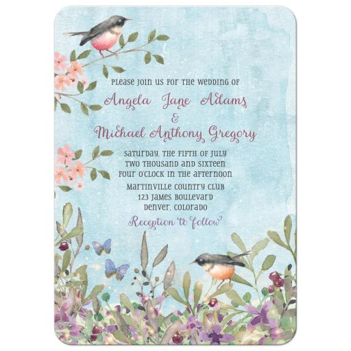 Woodland forest birds and butterflies watercolor wedding invitation