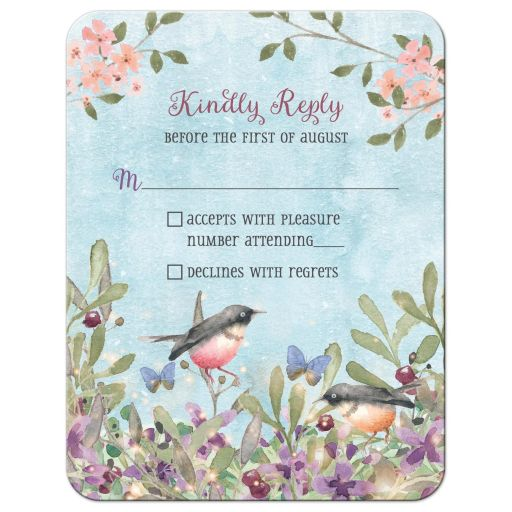 ​Woodland forest birds and butterflies watercolor wedding RSVP reply card