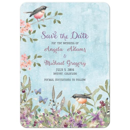 Woodland forest birds and butterflies watercolor wedding save the date announcement