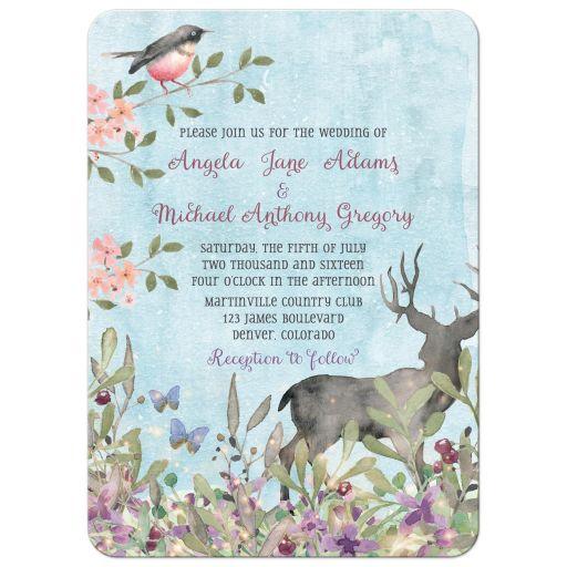 Woodland forest deer, birds and butterflies watercolor wedding invitation