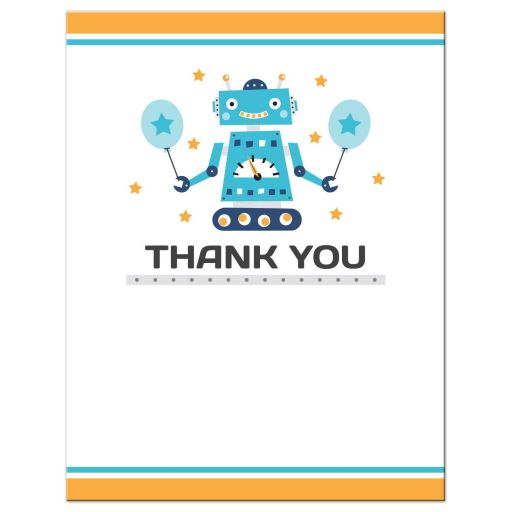 Robot birthday party thank you card, flat notecard