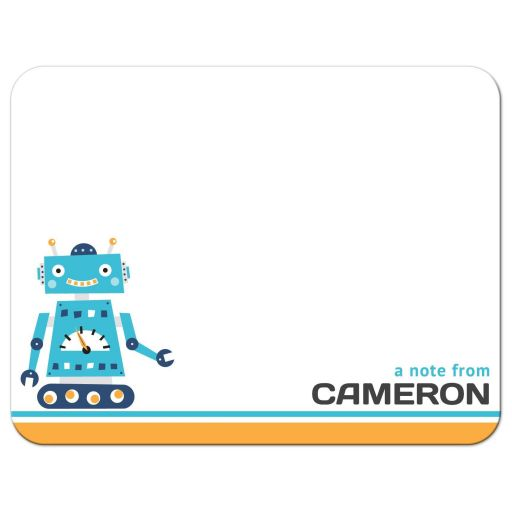 Retro robot, cute stationery note cards for kids.