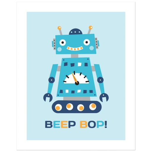Retro robot nursery art print poster