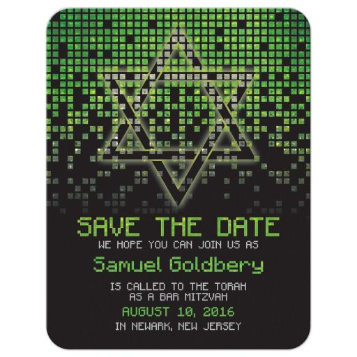 Lime green black pixelated digital techno font video game theme Bar Mitzvah save the date front