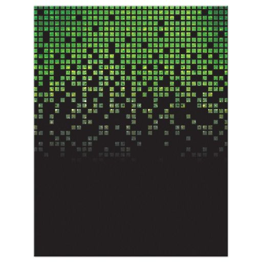 Lime green black pixelated digital techno font video game theme Bar Mitzvah save the date back