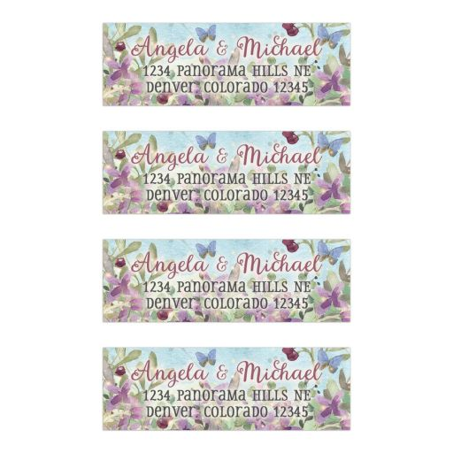 Woodland forest floral and butterflies watercolor personalized wedding address labels