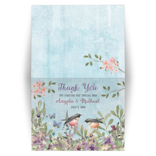 Woodland forest birds and butterflies watercolor wedding thank you card