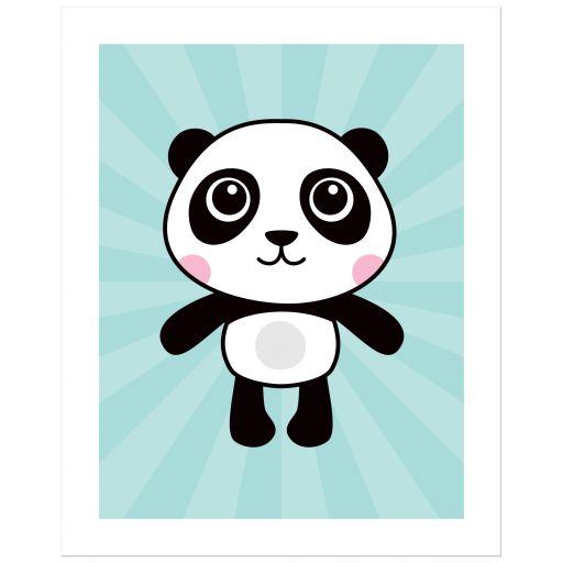 Cute panda on aqua blue sunburst background nursery wall art poster print for kids