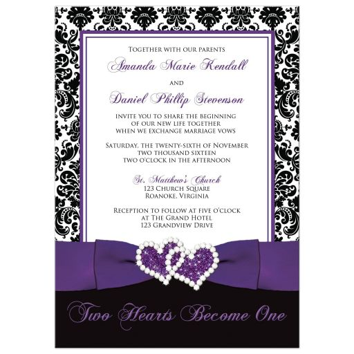 Best Black and white damask wedding invitation with purple ribbon and joined hearts