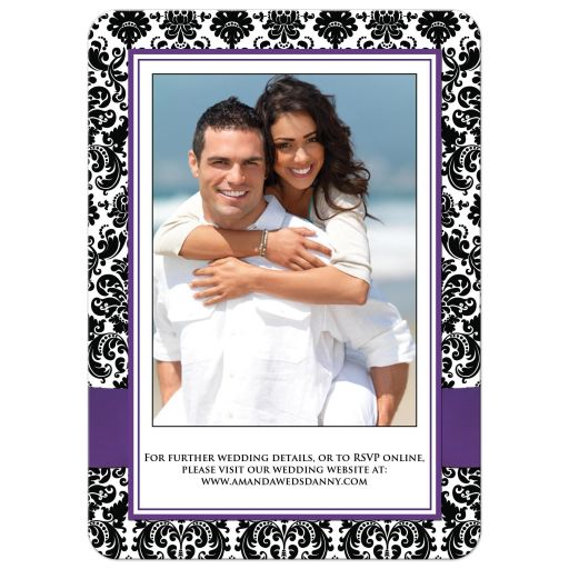 Great Purple, black and white damask wedding invite with ribbon and jewelled joined hearts