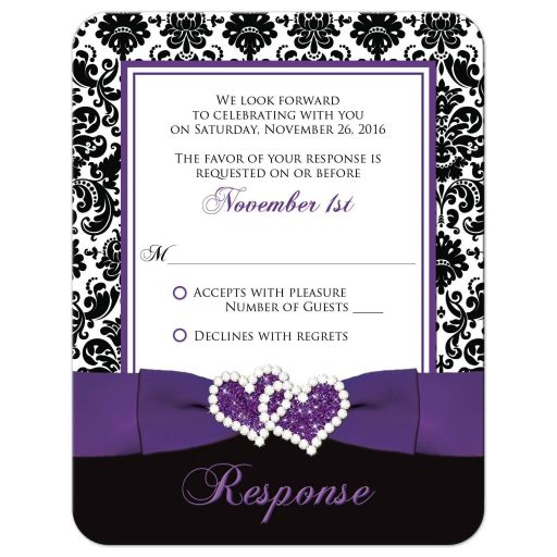 Great purple, black, and white damask pattern wedding RSVP cards with ribbon, bow and jewelled joined glitter hearts on it.