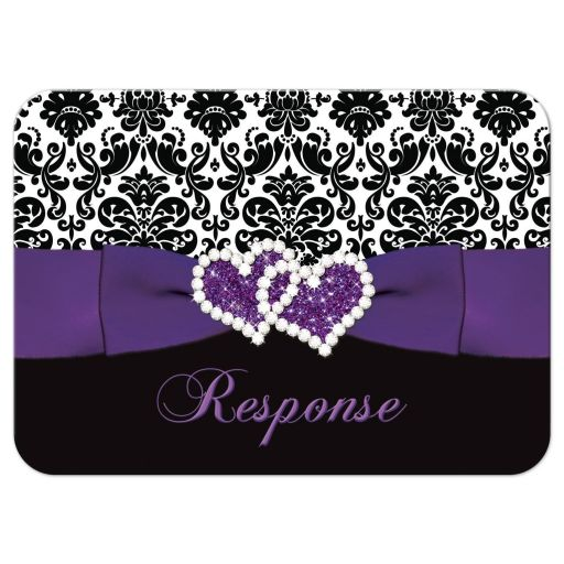 Great purple, black, and white damask pattern wedding reply response rsvp card with ribbon, bow and jewelled joined glitter hearts on it.