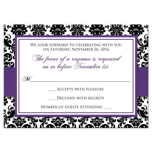 ​Best purple, black, and white damask pattern wedding response cards with ribbon, bow and jeweled joined glitter hearts on it.