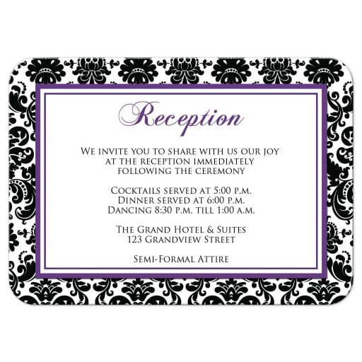 Great purple, black, and white damask pattern wedding reception enclosure card.