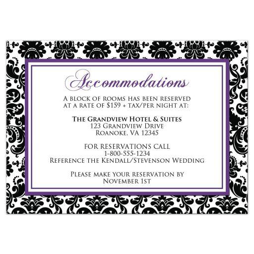 Best purple, black, and white damask pattern wedding accommodations enclosure card.