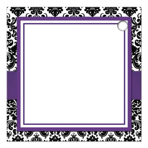 Best purple, black, and white damask pattern wedding favor thank you tag with ribbon, bow and jewelled joined glitter hearts on it.