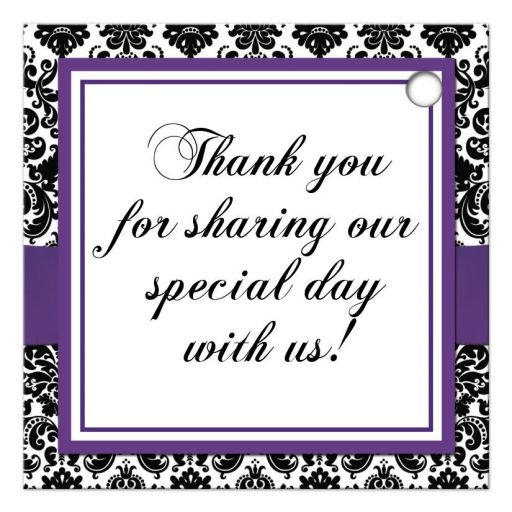 Best customizable purple, black, and white damask pattern wedding favor thank you tag with ribbon, bow and jewelled joined glitter hearts on it.