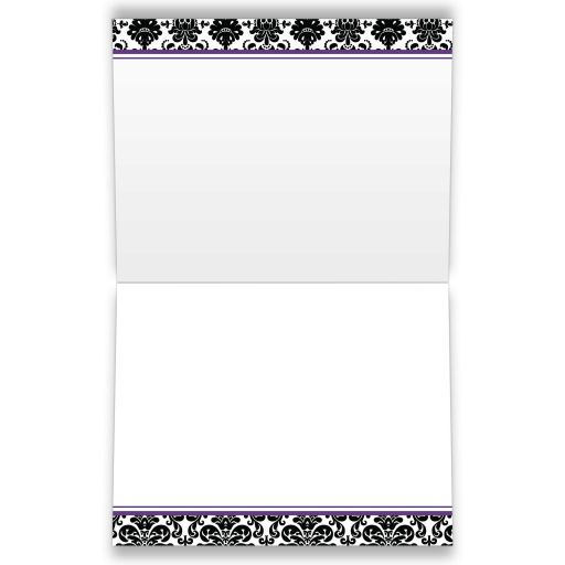 Best purple, black, and white damask pattern wedding  thank you card with ribbon, bow and jewelled joined glitter hearts on it.