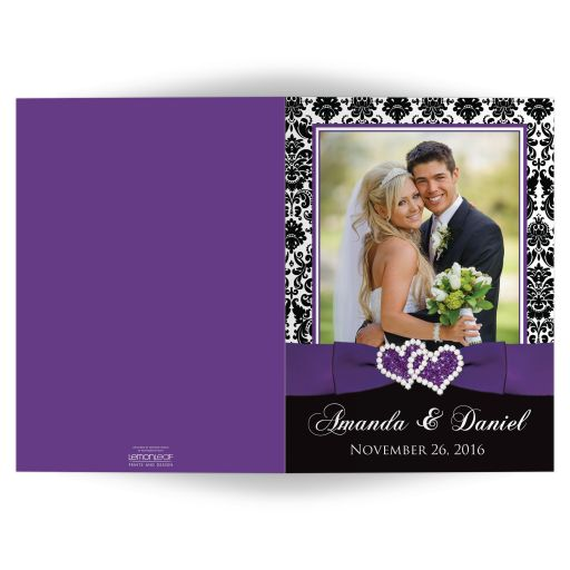 Great purple, black, and white damask pattern photo templates wedding thank you card with ribbon, bow and jewelled joined glitter hearts on it.
