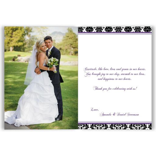 ​Best purple, black, and white damask pattern photo template wedding thank you card with ribbon, bow and jewelled joined glitter hearts on it.