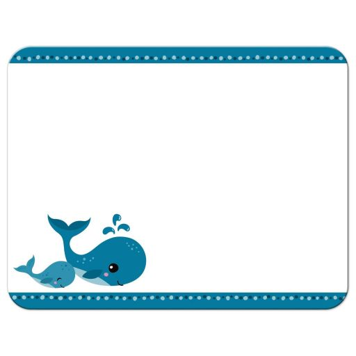 Mommy and baby whale, cute thank you notecard stationery for kids