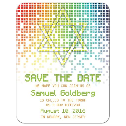 Raining rainbow colored pixel and pixelated digital techno font Bar Mitzvah save the date card