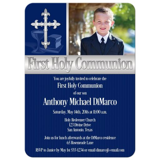 Great navy blue pinstripes First Holy Communion invitations with photo template and intricate silver Cross for a boy.