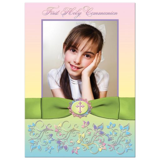 Great yellow, pink, purple, and lime green photo template first holy communion invitations with ribbon, bow, flowers, scrolls, bread and wine.