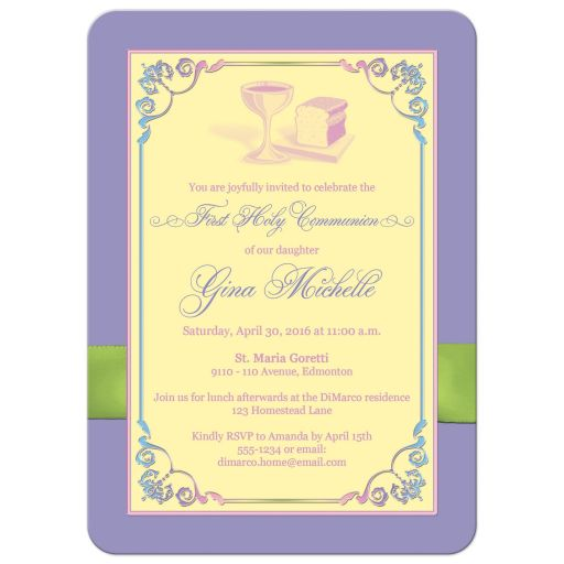 ​Best yellow, pink, purple, and lime green photo template first holy communion invites with ribbon, bow, flowers, scrolls, bread and wine.