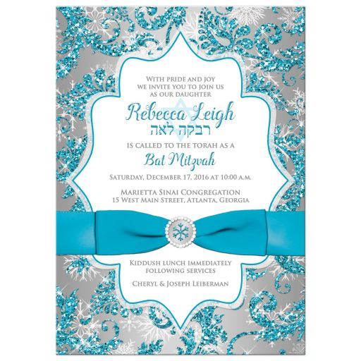 Great turquoise blue, silver, and white snowflakes and glitter damask pattern Bat Mitzvah party invitations with ribbon, bow and jewel brooch.