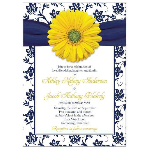 Yellow Daisy Navy Floral Wedding Invitation | Navy Blue